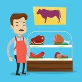 Boucher offrant la viande fraîche dans le butchershop illustration libre de droits