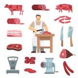 Boucher Set de viande illustration libre de droits