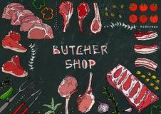 Boucher Shop Coupes de viande - boeuf, porc, agneau, bifteck, culotte sans os, rôti de nervures, échine et Rib Chops Tomate, oliv Photographie stock libre de droits
