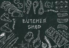 Boucher Shop Coupes de viande - boeuf, porc, agneau, bifteck, culotte sans os, rôti de nervures, échine et Rib Chops Tomate, oliv Images stock