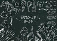 Boucher Shop Coupes de viande - boeuf, porc, agneau, bifteck, culotte sans os, rôti de nervures, échine et Rib Chops Tomate, oliv Image stock