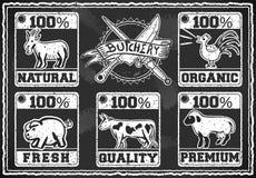 Boucher Shop Labels de vintage sur un tableau noir Images stock