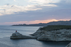Bouches de Bonifacio. The Madonnetta lighthouse in Corsica France Stock Photography