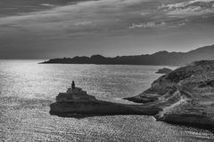 Bouches de Bonifacio. Madonnetta lighthouse in Corsica France Stock Photos