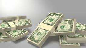 Bouchons des billets d'un dollar tombant avec le masque banque de vidéos