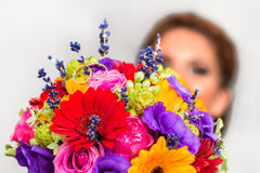 Boucket with flowers and ring on it. Flowers boucket and ring on the lavander flowers Stock Photos