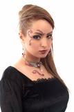 Boucle d'oreille de collier de fille de maquillage Images stock