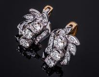 Boucle d'oreille de diamant Photo stock
