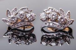 Boucle d'oreille de diamant Photos libres de droits
