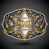 boucle de ceinture occidentale de cowboy de 2019 ans avec la conception de vecteur d'insigne de shérif illustration stock