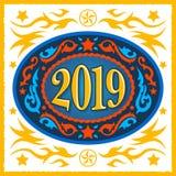 boucle 2019 de ceinture ovale occidentale de nouvelle année de style de cowboy illustration libre de droits