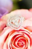 Boucle de diamant sur Rose Photographie stock