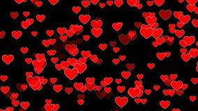 Boucle de fond avec les coeurs rouges banque de vidéos