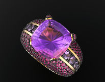 Boucle de mariage avec le diamant Fond noir de bijou de tissu d'or et d'argent Images libres de droits