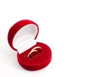 Boucle de mariage dans un cadre de cadeau avec Photo libre de droits