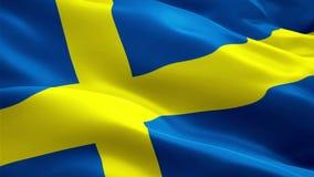 Boucle de vague de drapeau de la Suède ondulant en vent Fond suédois réaliste de drapeau De la Suède de drapeau plein HD 1920X108 illustration libre de droits