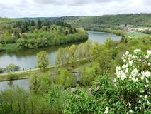 Boucle des Mosel-Flusses in Liverdun-Abteilung Meurthe und Mosel stockfotografie