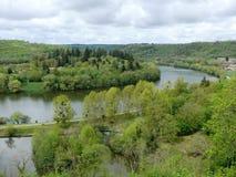Boucle des Mosel-Flusses in Liverdun-Abteilung Meurthe und Mosel lizenzfreie stockfotografie