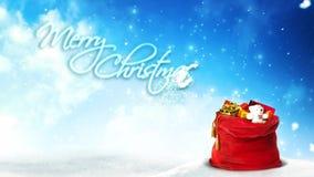 Boucle du Joyeux Noël 4K de Santa Present Bag Glitter Rising banque de vidéos