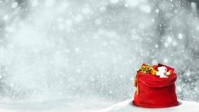 Boucle du remous 4K de Santa Present Bag Silver Glitter banque de vidéos