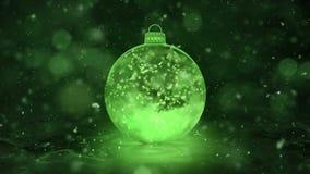 Boucle en verre de fond de flocons de neige de décoration de babiole de glace de vert de nouvelle année de Noël clips vidéos
