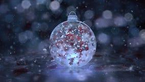 Boucle en verre 4k de fond de neige de décoration de babiole de glace bleue de nouvelle année de Noël clips vidéos