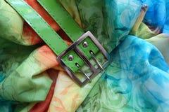 Boucle métallique et ceinture verte sur la rayonne image libre de droits