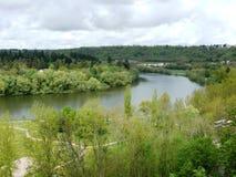 Boucle Moselle rzeka w Liverdun wydzia?owy Meurthe i Moselle fotografia royalty free
