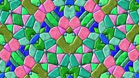 Boucle sans couture changeante de fond de mosaïque de kaléidoscope de bijou Animated visuelle - rétros couleurs roses vertes bleu illustration de vecteur