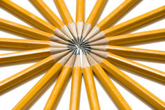 Boucle vibrante des crayons jaunes Photographie stock libre de droits