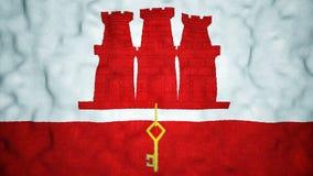 Boucle visuelle sans couture de drapeau de Gibraltar banque de vidéos