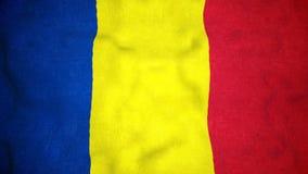 Boucle visuelle sans couture de drapeau roumain banque de vidéos
