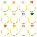 Boucles d'or assorties avec des pierres Images stock