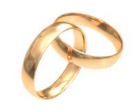Boucles d'or de mariage sur le blanc Image stock
