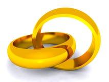Boucles d'or enlacées sur le fond blanc Photos libres de droits