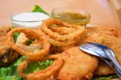 Boucles d'oignon frites photographie stock libre de droits