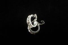 Boucles d'oreille argentées avec des cristaux Photo libre de droits