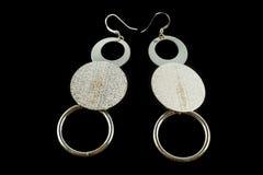 Boucles d'oreille argentées avec des cristaux Image stock