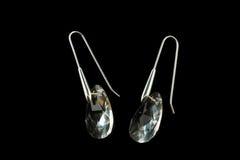 Boucles d'oreille argentées avec des cristaux Images stock