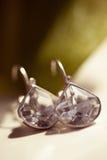 Boucles d'oreille avec des cristaux Photographie stock