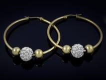 Boucles d'oreille avec des cristaux - acier inoxydable Images stock