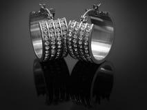 Boucles d'oreille avec des cristaux - acier inoxydable Photographie stock libre de droits