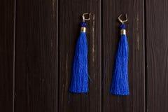 Boucles d'oreille bleues de fil Image stock