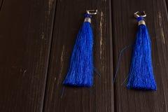 Boucles d'oreille bleues de fil Image libre de droits