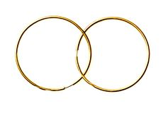 Boucles d'oreille d'or d'isolement sur un fond blanc Photo libre de droits