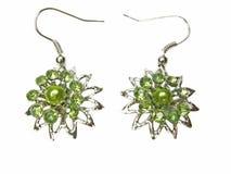 Boucles d'oreille de bijou avec des cristaux de btight Image libre de droits