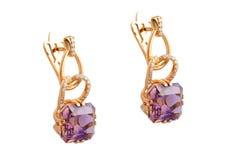 Boucles d'oreille de diamant photographie stock libre de droits