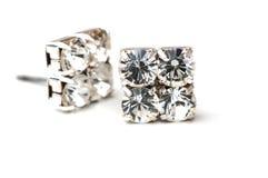 Boucles d'oreille de diamant Photographie stock