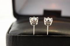 Boucles d'oreille de goujon de diamant Photos libres de droits