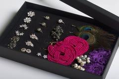 Boucles d'oreille et anneaux du ` s de femmes dans une boîte spéciale pour le stockage Une collection de bijoux pour différentes  Images libres de droits